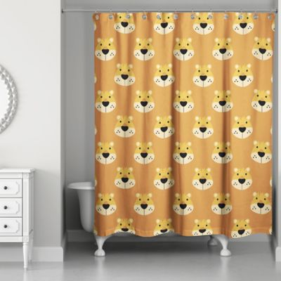 orange and brown shower curtain. Designs Direct Lion Face Friend 74 Inch Shower Curtain in Brown Buy Curtains from Bed Bath  Beyond