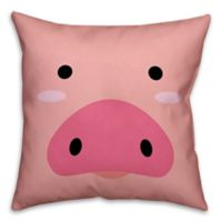 Designs Direct Pig Face Friend 16-Inch Square Throw Pillow in Pink