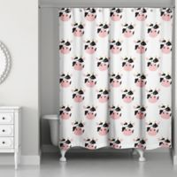 Designs Direct Cow Face Friend 74-Inch Shower Curtain in White