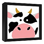 Designs Direct Cow Face Friend 13.7-Inch Square Framed Canvas Wall Art