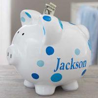 Baby Boy Polka Dot Piggy Bank