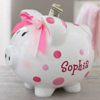 Baby Girl Polka Dot Piggy Bank