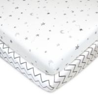 TL Care® Fitted Cotton Playard Sheets in Grey Star/Zigzag (Set of 2)