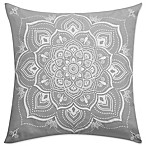 Kenya Elephant Printed Square Throw Pillow in Grey
