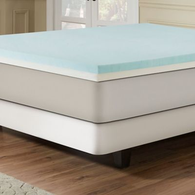 Combination Gel Memory Foam 3 Inch Full Mattress Topper In Blue White