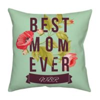 Mother's Day Floral Monogram 18-Inch Square Throw Pillow in Blue