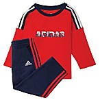 adidas® Size 3M 2-Piece Challenger City Print Shirt and Pant Set in Red