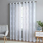 Be Artistic Breeze Leaf 84-Inch Grommet Top Window Curtain Panel in White
