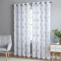 Be Artistic Breeze Leaf 95 Inch Grommet Top Window Curtain Panel In White Grey