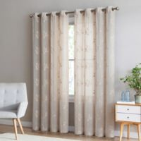 Be Artistic Breeze Leaf 108-Inch Grommet Top Window Curtain Panel in Natural/Ivory