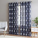Be Artistic Breeze Leaf 95-Inch Grommet Top Window Curtain Panel in Charcoal/White