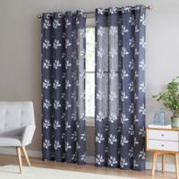 Be Artistic Breeze Leaf 84-Inch Grommet Top Window Curtain Panel in Charcoal/White