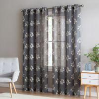 Be Artistic Breeze Leaf 108-Inch Grommet Top Window Curtain Panel in Mocha/Tan