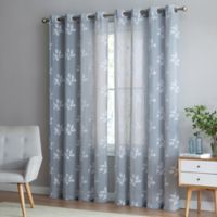 Be Artistic Breeze Leaf 84-Inch Grommet Top Window Curtain Panel in Sky/White