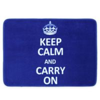 17-Inch x 24-Inch Keep Calm and Carry On Bath Mat in Cobalt
