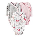 carter's® Newborn 3-Pack Long-Sleeve Side-Snap Bodysuits in Pink