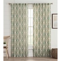 Lahire Print 84-Inch Rod Pocket Window Curtain Panel in Spa