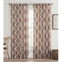 Lahire Print 95-Inch Rod Pocket Window Curtain Panel in Berry