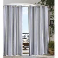 Gazebo 108-Inch Grommet Indoor/Outdoor Window Curtain Panel in Black/Grey
