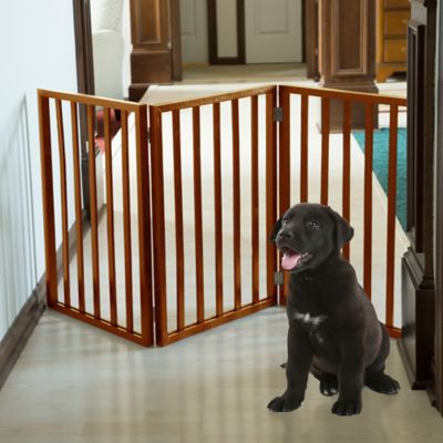 PETMAKER Freestanding Wooden Pet Gate In Mahogany