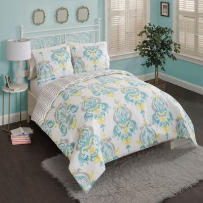 Buy Aqua King Comforter Set From Bed Bath Beyond - Blue and yellow comforter sets king