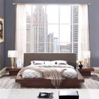 Modway Freja 3-Piece Queen Upholstered Bedroom Set in Walnut/Brown