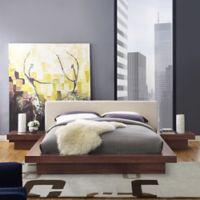 Modway Freja 3-Piece Queen Upholstered Bedroom Set in Walnut/Beige