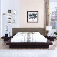 Modway Freja 3-Piece Queen Upholstered Bedroom Set in Cappuccino/Brown