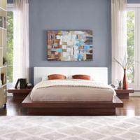 Modway Freja 3-Piece Queen Vinyl Bedroom Set in Walnut/White