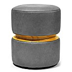 Faux Leather Ottoman with Wood Center in Grey