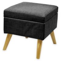 Linen Storage Ottoman with Wood Legs in Black