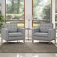 Modway Loft Upholstered Arm Chair in Light Grey (Set of 2)