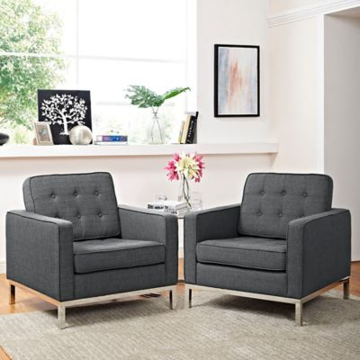 modway loft upholstered arm chair in grey set of 2