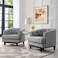 Modway Coast Armchairs in Light Grey(Set of 2)