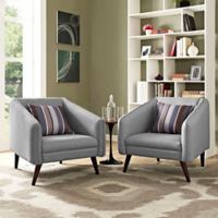 Modway Slide Armchairs in Light Grey (Set of 2)