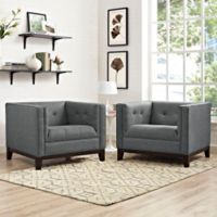 Modway Serve Upholstered Arm Chair in Grey (Set of 2)