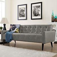 Modway Delve Vinyl Sofa in Grey