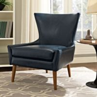 Modway Keen Vinyl Upholstered Arm Chair in Blue