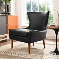 Modway Keen Vinyl Upholstered Arm Chair in Black