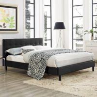 Modway Linnea Queen Upholstered Platform Bed in Black Vinyl
