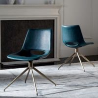 Safavieh Danube Leather Swivel Chair in Blue (Set of 2)