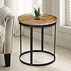 Carolina Cottage Park Accent Drum Table in Natural/Black