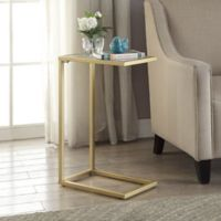 Carolina Cottage Ansley Computer Tray Table with Glass Top in Gold
