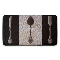 Chef Gear French Utensils Faux Leather 18-Inch x 30-Inch Comfort Kitchen Mat in Black