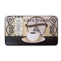 Chef Gear Cafe Paris Faux Leather 18-Inch x 30-Inch Comfort Kitchen Mat in Black