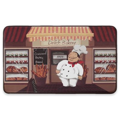 Chef Gear Happy Chef Faux Leather 18 Inch X 30 Inch Comfort Kitchen Mat