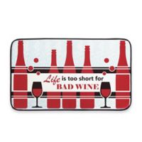 Chef Gear Life Is Too Short for Bad Wine Faux Leather 18-Inch x 30-Inch Comfort Kitchen Mat in Red