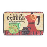Chef Gear Coffee Mama Faux Leather 18-Inch x 30-Inch Comfort Kitchen Mat in Red