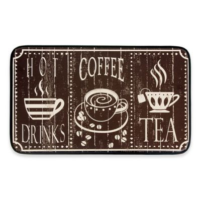 Chef Gear Hot Coffee Faux Leather 18 Inch X 30 Inch Comfort Kitchen Mat