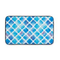 Chef Gear Watercolor Clover Faux Leather 18-Inch x 30-Inch Comfort Kitchen Mat in Blue